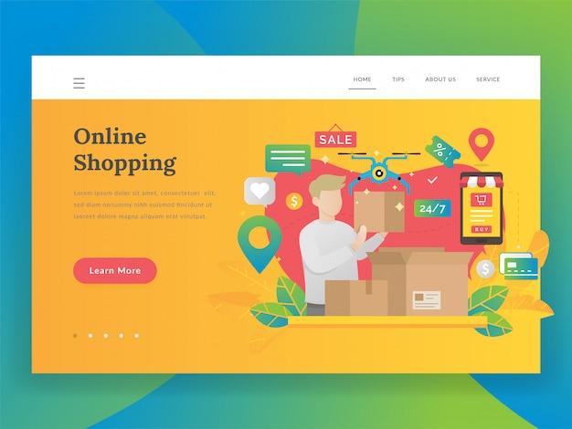 Modernes flaches designillustrationskonzept des online-einkaufens Premium Vektoren