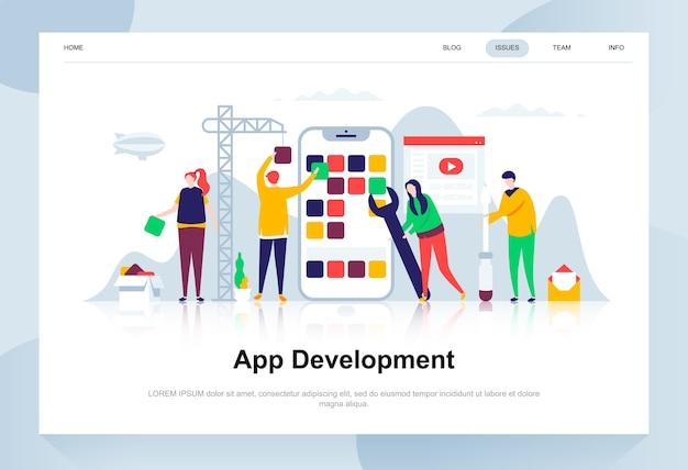 Modernes flaches designkonzept der app-entwicklung. Premium Vektoren