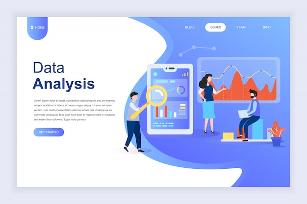 Modernes flaches designkonzept der big data-analyse für website Premium Vektoren