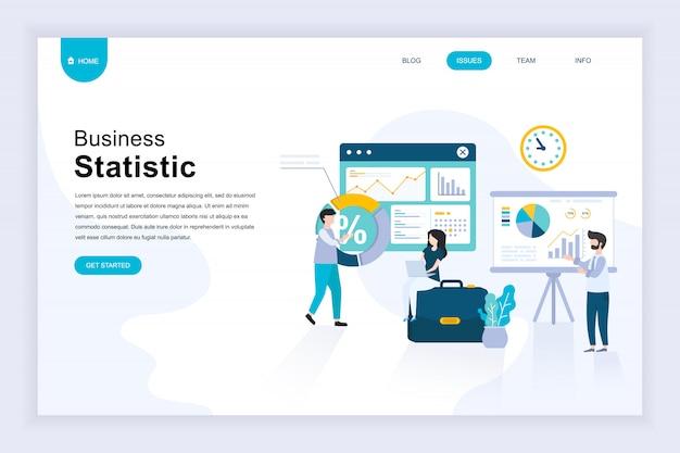Modernes flaches designkonzept der geschäftsstatistik für website Premium Vektoren