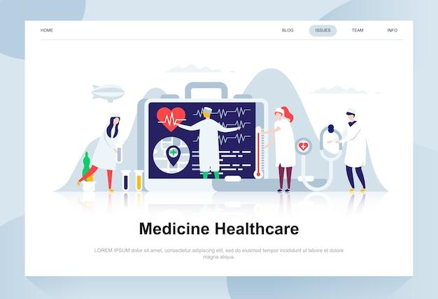 Modernes flaches designkonzept der medizin und des gesundheitswesens. Premium Vektoren