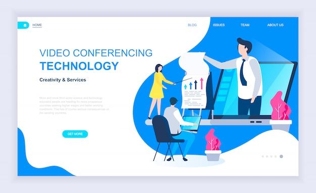 Modernes flaches designkonzept der videokonferenz Premium Vektoren