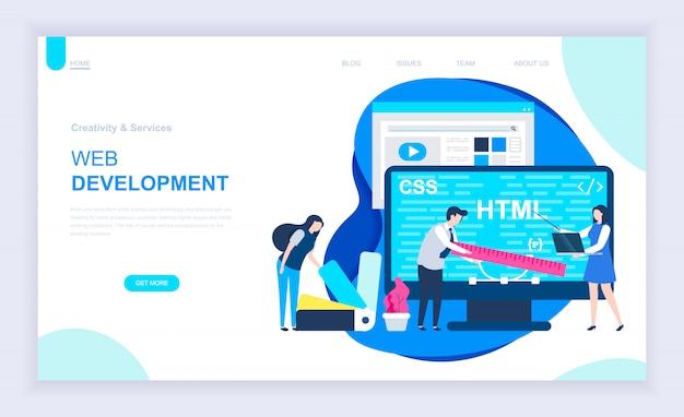 Modernes flaches designkonzept der webentwicklung Premium Vektoren