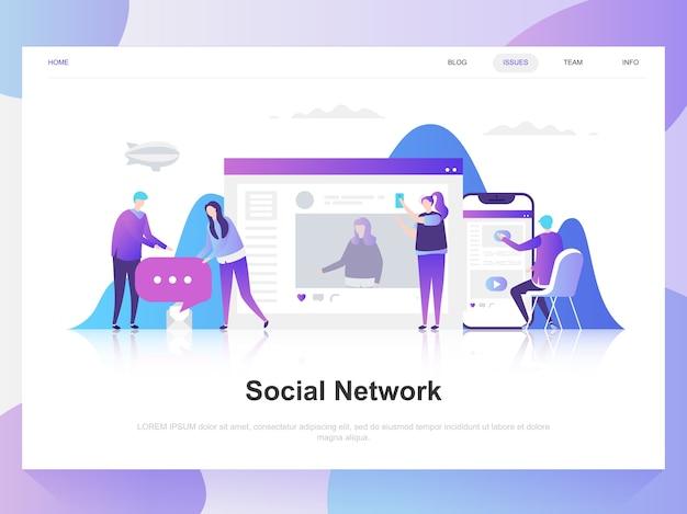 Modernes flaches designkonzept des sozialen netzes. Premium Vektoren