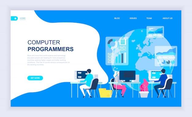Modernes flaches designkonzept von computerprogrammierern Premium Vektoren