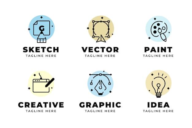 Modernes flaches grafikdesign-logo-paket Premium Vektoren