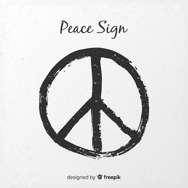 Modernes Friedenssymbol mit grunge Art Kostenlose Vektoren