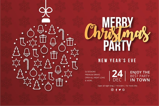 Modernes frohe weihnacht-party-plakat Kostenlosen Vektoren