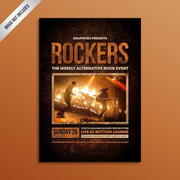 Modernes grunge-rockmusik-konzert-plakat Premium Vektoren