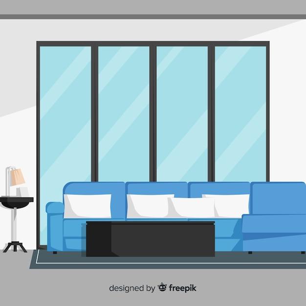 Modernes hand gezeichnetes wohnzimmer Kostenlosen Vektoren