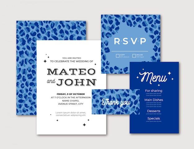Modernes hochzeitsbriefpapier des blauen leoparden Kostenlosen Vektoren