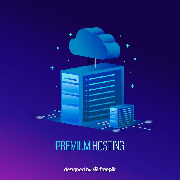 Modernes hosting-konzept mit flacher bauform Kostenlosen Vektoren