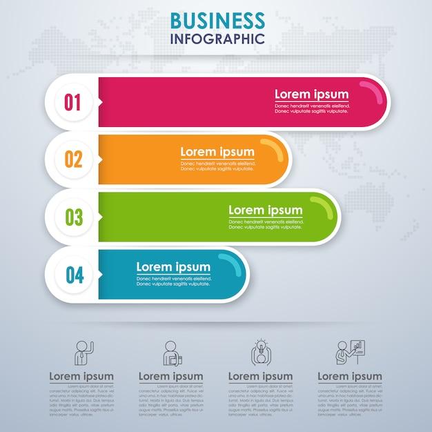 Modernes infografik-geschäft mit vier optionen Premium Vektoren