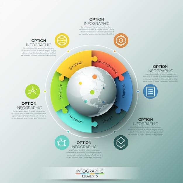 Modernes infografik-layout, 6 miteinander verbundene puzzleteile rund um den globus Premium Vektoren