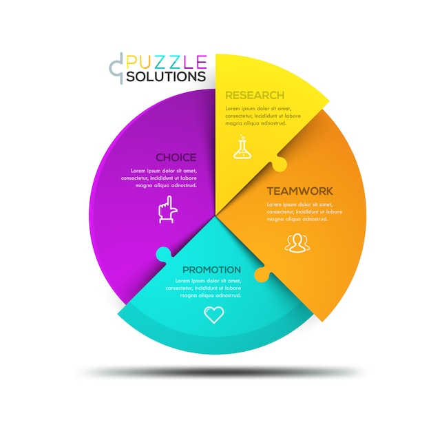 Modernes infographic, kreisförmiges puzzlen geteilt Premium Vektoren