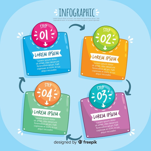 Modernes infographic schritte konzept Kostenlosen Vektoren