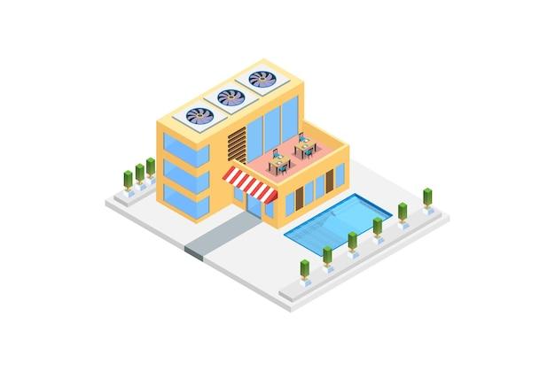 Modernes isometrisches luxushaus mit swimmingpool Premium Vektoren