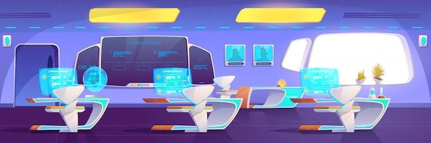 Modernes klassenzimmer mit futuristischem studierendem zubehör Kostenlosen Vektoren
