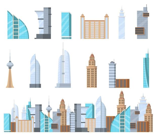 Modernes kommerzielles wolkenkratzer-flachset für webdesign. karikaturhochhauskomplex der stadt isolierte vektorillustrationssammlung. gebäudefassade und geschäftsarchitekturkonzept Kostenlosen Vektoren