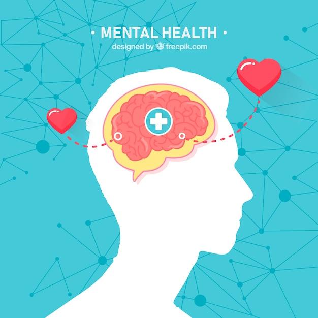 Modernes konzept der psychischen gesundheit mit flachem design Kostenlosen Vektoren