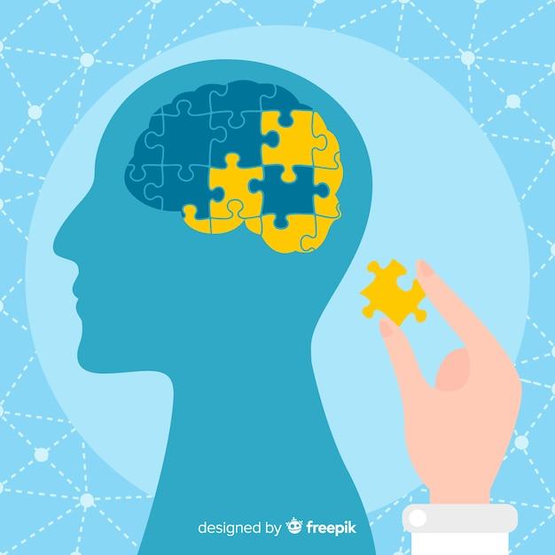 Modernes Konzept der psychischen Gesundheit mit flachem Design Kostenlose Vektoren