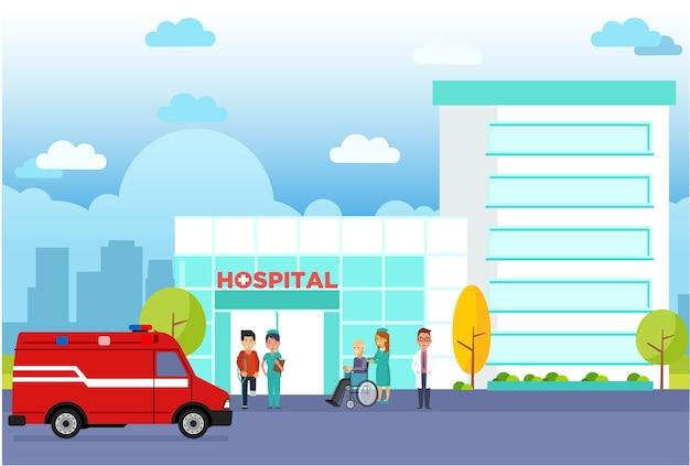 Modernes krankenhaus, das flachen vektor errichtet Premium Vektoren