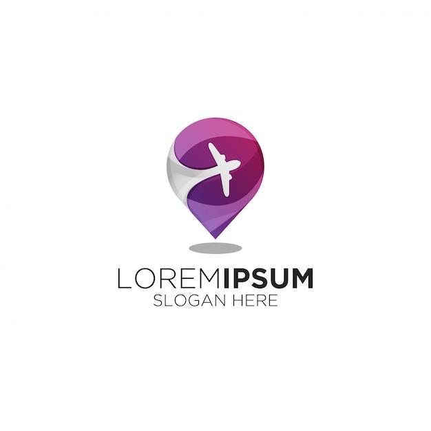 Modernes logo des lokalen reisegradienten Premium Vektoren