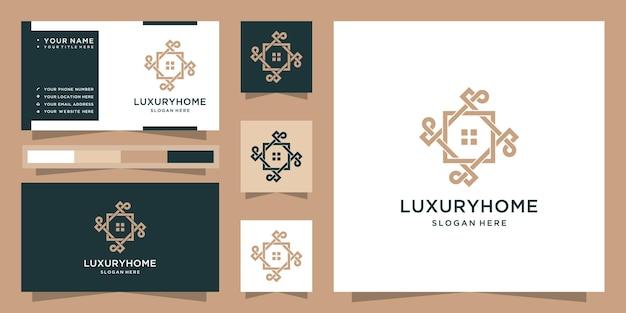 Modernes luxushauslogo und visitenkarte Premium Vektoren