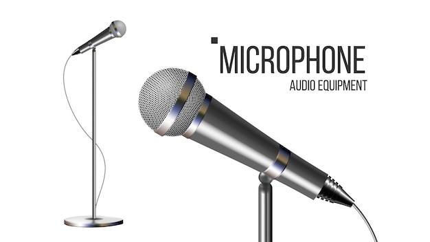 Modernes mikrofon mit ständer Premium Vektoren
