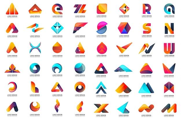 Modernes minimales vektor-logo für fahne, plakat, flieger Premium Vektoren