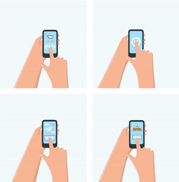 Modernes mobiles sofortnachrichten-chatplakat mit hand- und smartphoneillustration Premium Vektoren