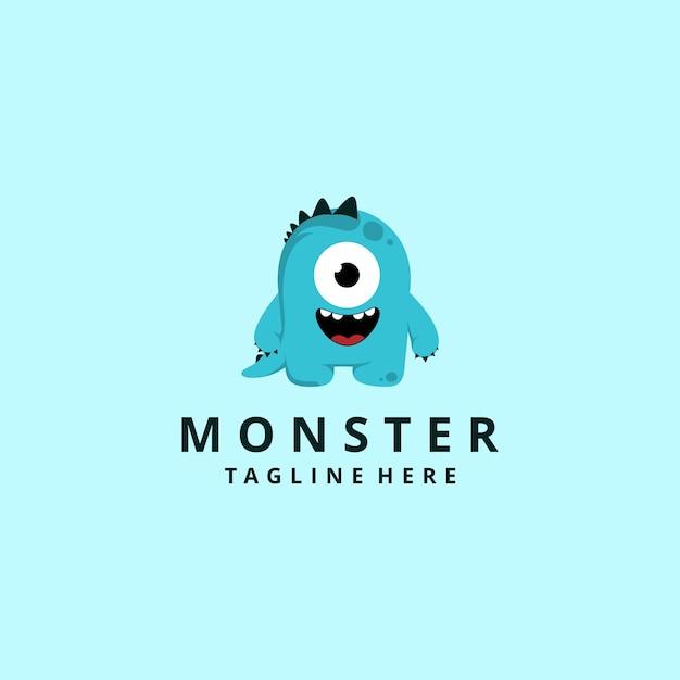 Modernes monster-maskottchen-logo der zeichentrickfigur Premium Vektoren