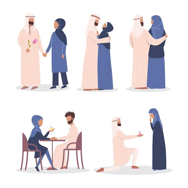 Modernes mulim-paar-liebesgeschichtenset. arabische frau und mann sind verliebt. liebhaber verbringen zeit miteinander auf einem datum und vorschlag. Premium Vektoren