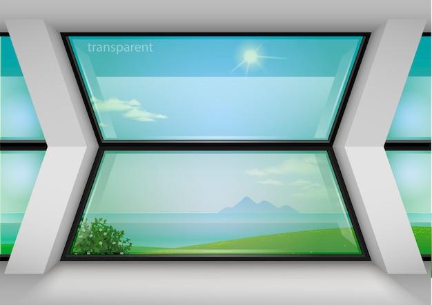 Modernes panoramafenster des hotels Premium Vektoren