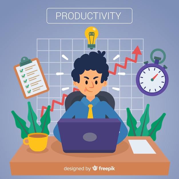Modernes produktivitätskonzept mit flacher bauform Kostenlosen Vektoren