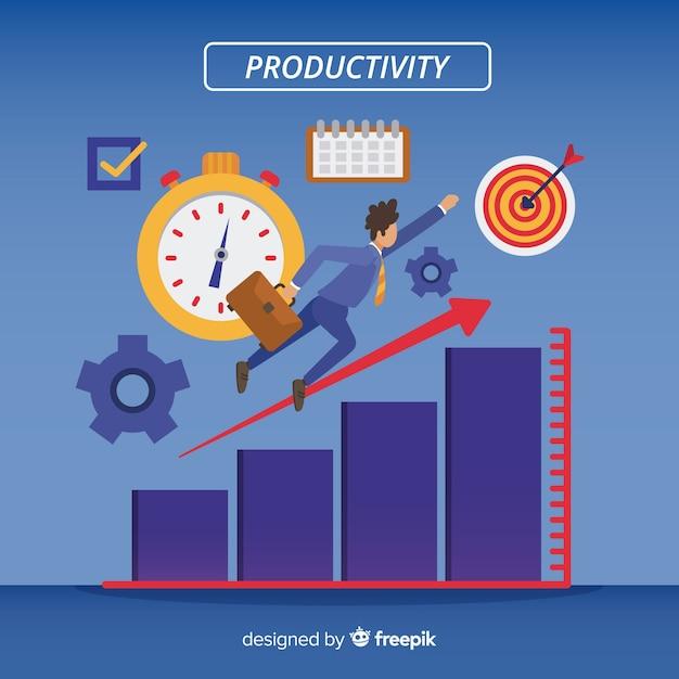 Modernes produktivitätskonzept mit flacher bauform Premium Vektoren