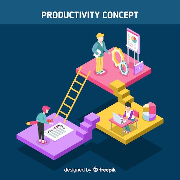 Modernes produktivitätskonzept mit isometrischer ansicht Kostenlosen Vektoren