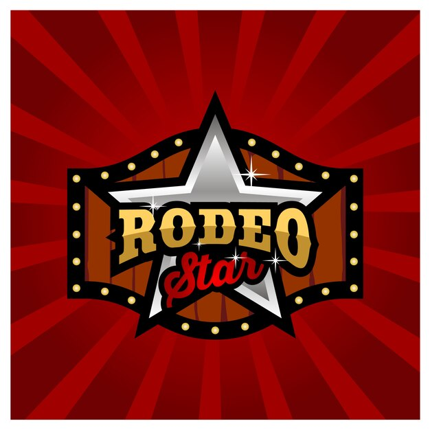 Modernes rodeo-zeichen-brettspiel-logo-design Premium Vektoren