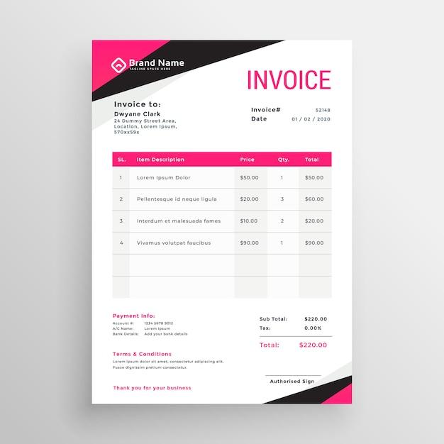 Modernes rosa geometrisches rechnungsschablonendesign Kostenlosen Vektoren