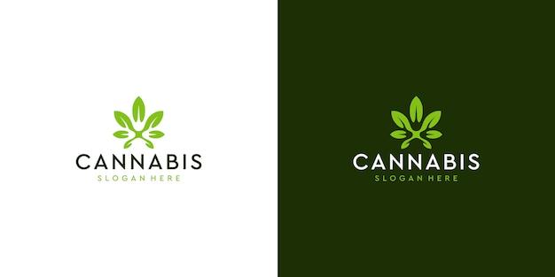 Modernes sauberes cannabis-logo deisgn Premium Vektoren