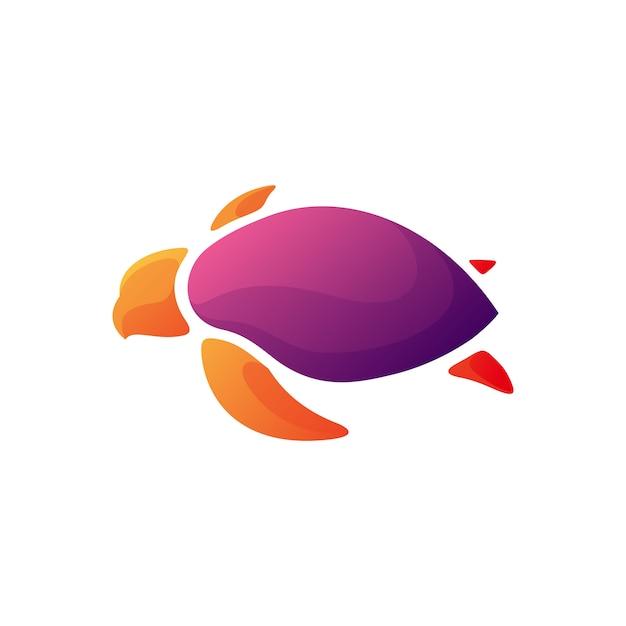 Modernes schildkrötenillustrationsdesign Premium Vektoren
