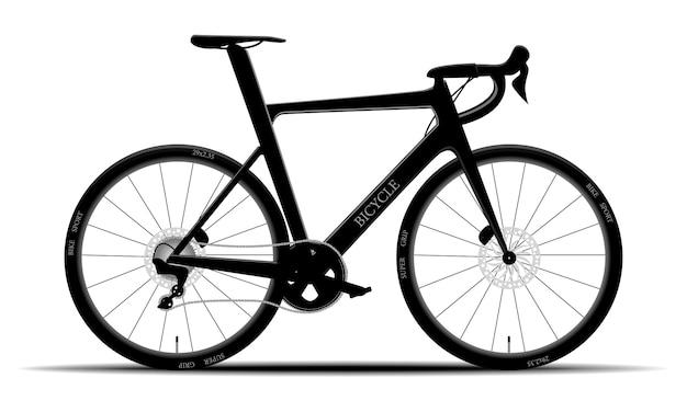 Modernes schwarzes mountainbike auf lokalisiertem hintergrund, hardtail, illustration Premium Vektoren
