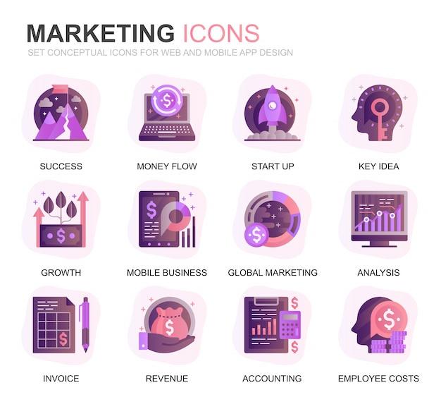 Modernes set business und marketing farbverlauf flache symbole Premium Vektoren