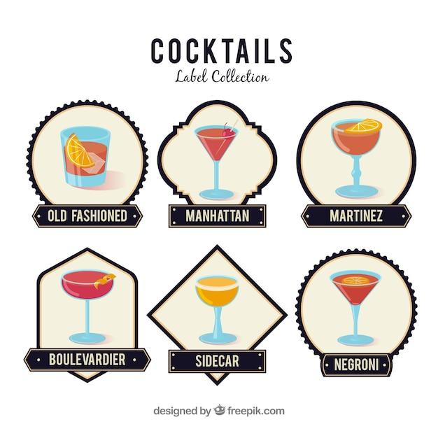 Modernes set cocktail-abzeichen Kostenlosen Vektoren