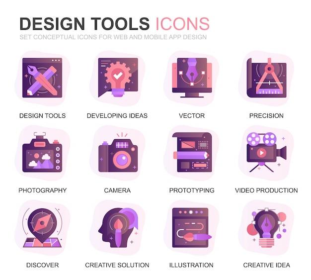 Modernes set-design bearbeitet flache ikonen der steigung Premium Vektoren