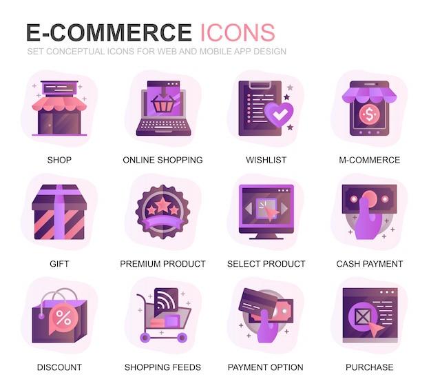 Modernes set e-commerce und shopping farbverlauf flache symbole Premium Vektoren