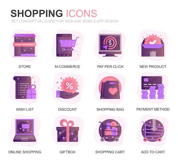 Modernes set shopping und e-commerce-farbverlauf flache symbole Premium Vektoren