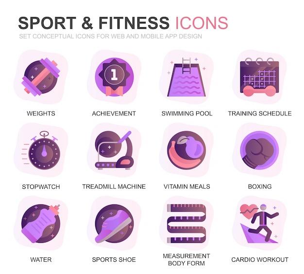 Modernes set sport und fitness farbverlauf flache symbole Premium Vektoren