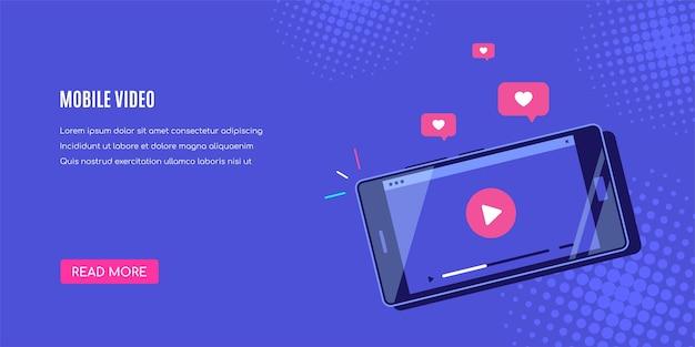 Modernes smartphone mit online-videoplayer auf dem bildschirm. mobiles streaming, live-podcast, mobiles video, tv. Premium Vektoren