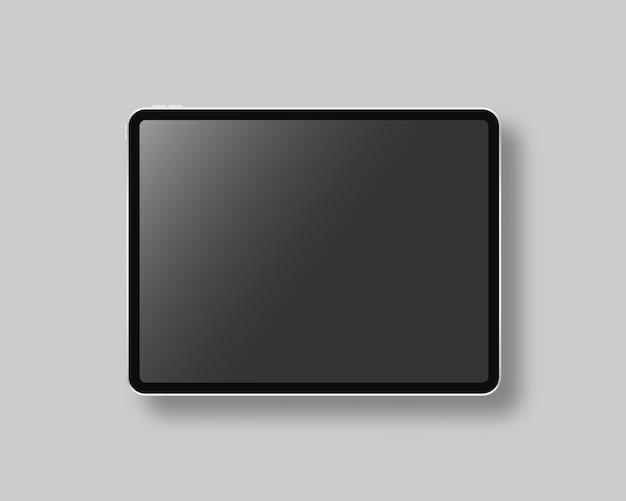 Modernes tablet mit leerem bildschirm. szene. schwarze tafel auf grauem hintergrund. realistische illustration. Premium Vektoren